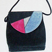 Black Suede Shoulder Bag Tri-Color Flap