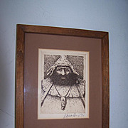 Original Signed & Framed Etching Friar Tuck