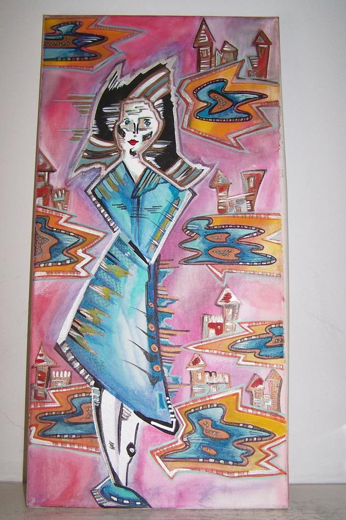 "24"" Original Acrylic on Canvas  Abstract Art Mint"