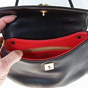 Black Koret Shoulder Bag Lined in Lipstick Red Mint!