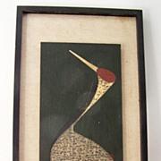 Kaoru Kawano Sacred Crane c 1950 Wood Cut