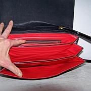 Black Patent Shoulder Bag / Converts to Clutch Handbag Bow in Front
