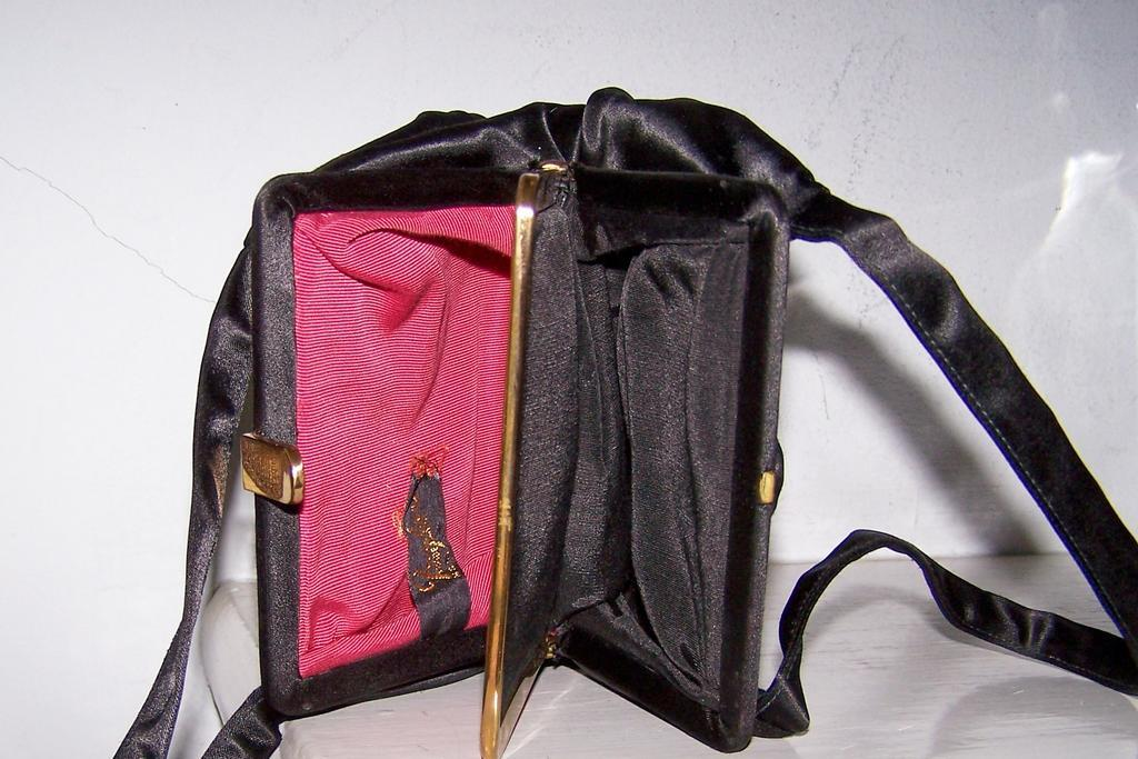 Ingber Black Satin Evening Bag 2 Compartments Pristine!