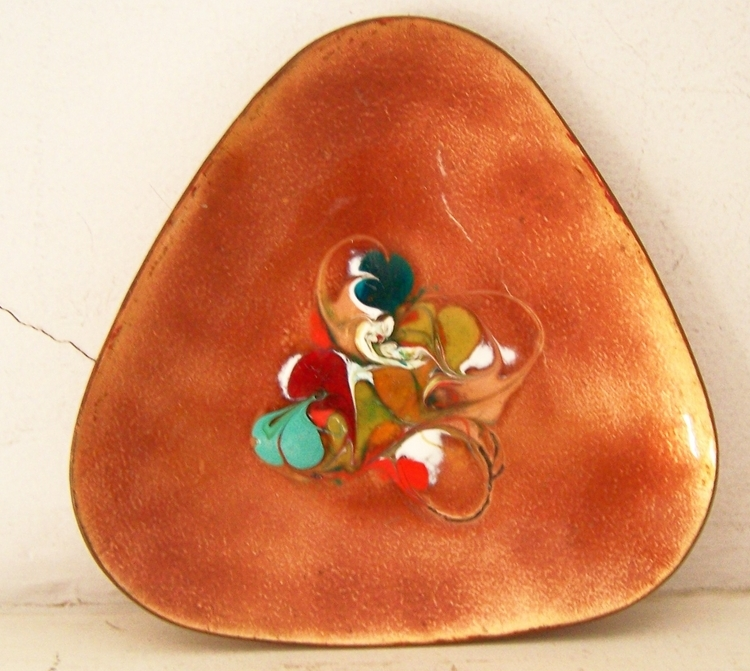 Abstract Enamel on Copper Tray