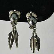 SALE Sterling Silver and Hematite Leaf and Feather Clip Earrings