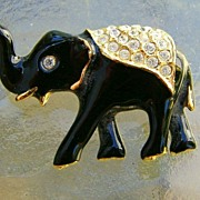 Black Enamel and Rhinestone Elephant Brooch Pin