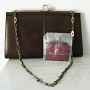 Brown Leather  Shoulder Bag /Clutch  w' Etienne Aigner Mirror