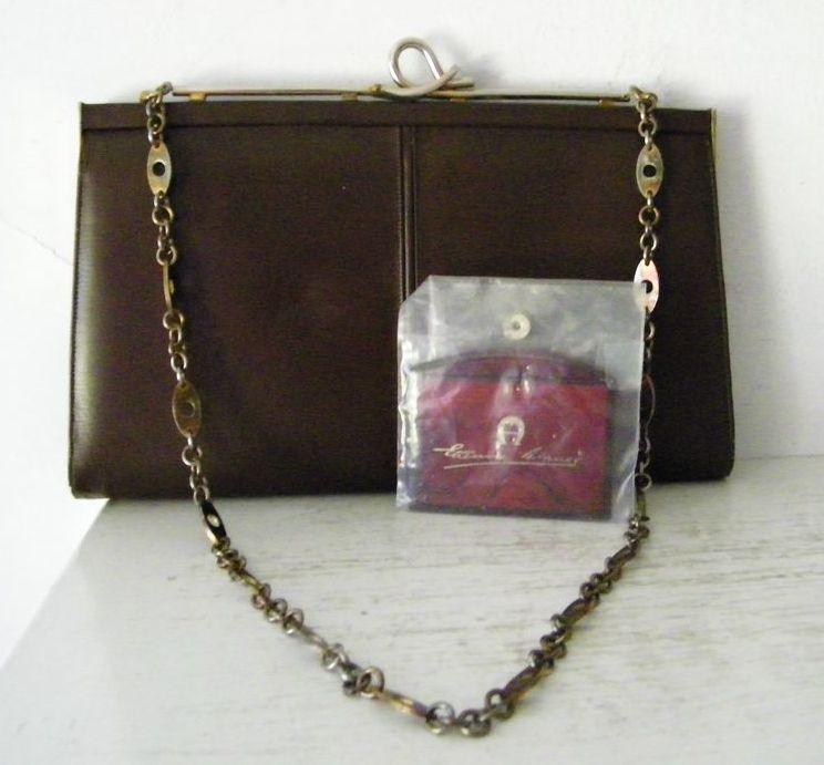 Brown Leather  Shoulder Bag /Clutch  w' Etienne Aigner Mirror