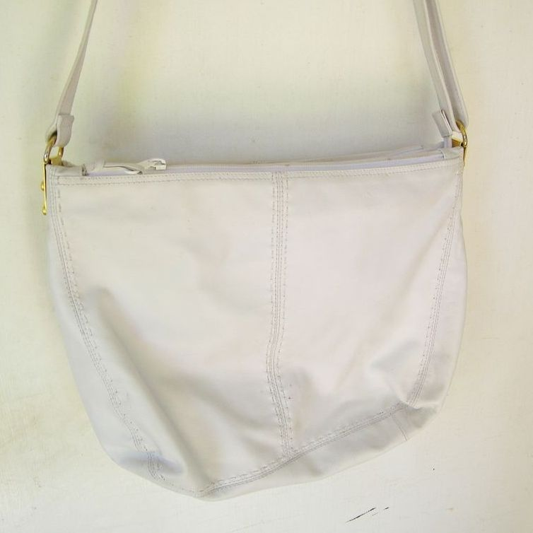 Ganson White leather Hobo multiple compartments Shoulder Bag mint