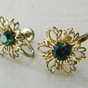 Green Rhinestone Floral Earrings Screw Back
