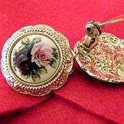 Large Enamel Earrings Pink & Red Roses