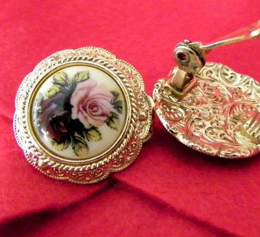 Large Enamel Earrings Pink & Red Roses