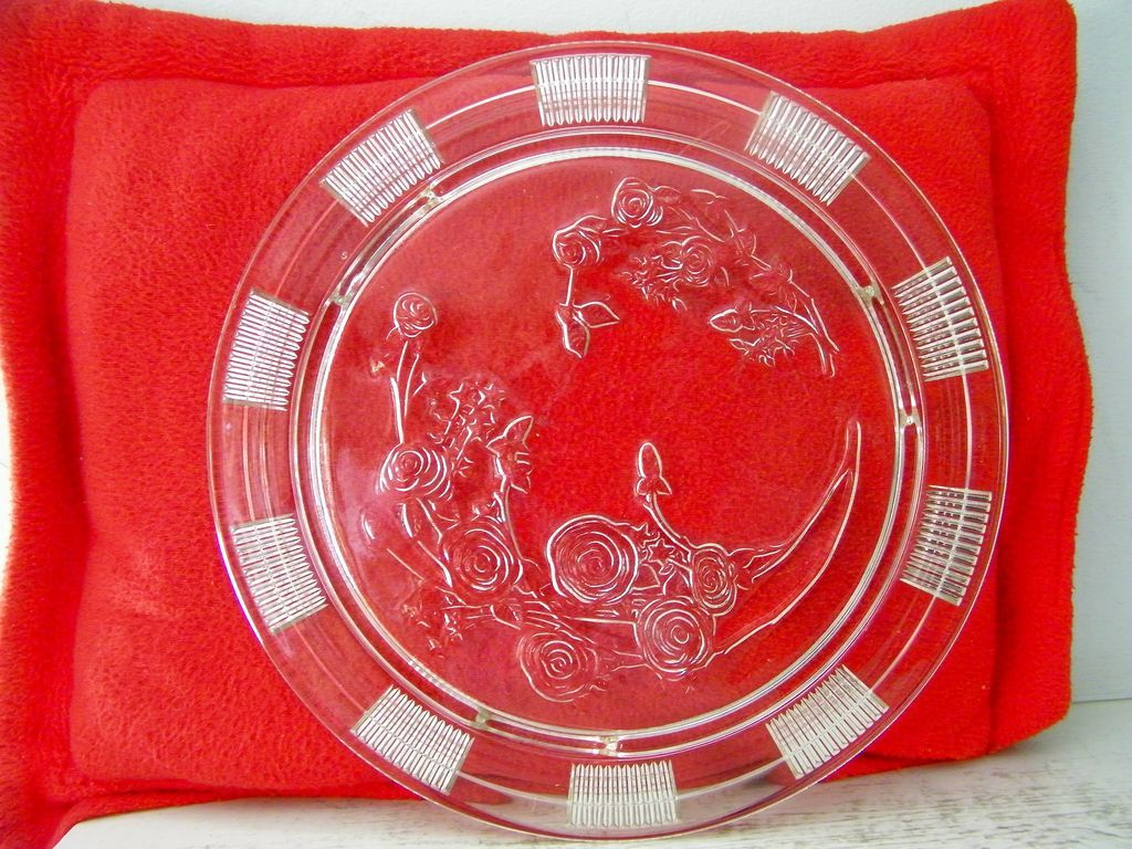 Federal Glass Cake Plate 1930's Excellent