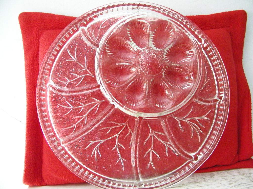 Indiana Glass Egg Plate / Relish Tray / Serving Platter
