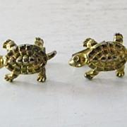 Goldtone Textured Turtle Cufflinks