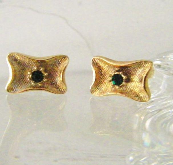 Gold Filled Cufflinks w' Faux Emerald