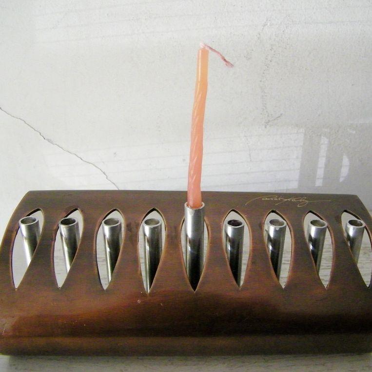 Unique Signed Copper and Steel Menorah Modernist