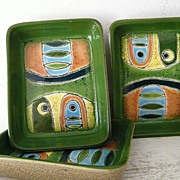 3 Artesa Hand Painted Abstract Modern Ceramic Dishes
