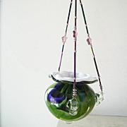 Swirled colored Art Glass Hanging Vase Votive  Holder