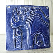 Blue Ceramic Art Tile stylistic Bas Relief