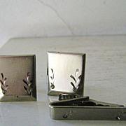 Silver Tone & diamond rhinestone Cufflinks & Tie Bar