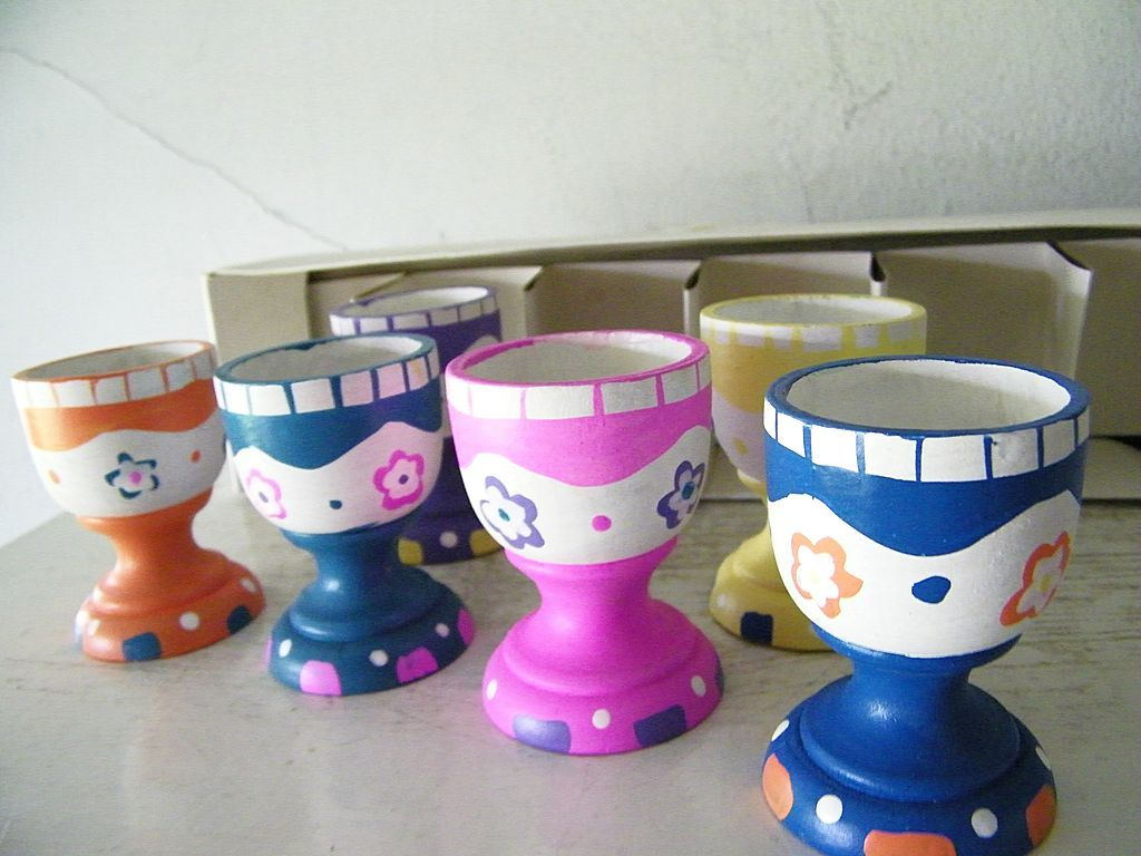 Set of 6 Handpainted Wood Egg Cups New in Box!
