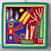 Mexican Huichol Yarn Painting Folk Art