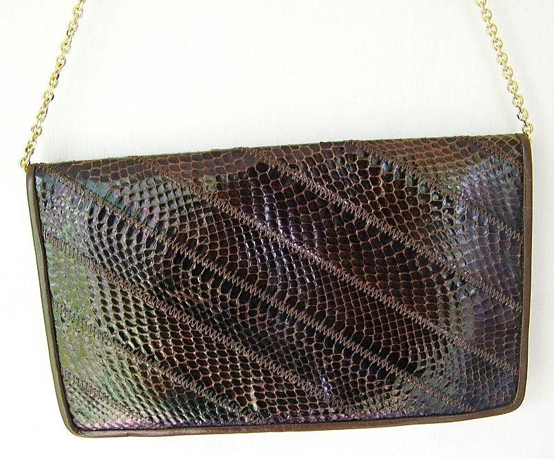 Brown Leather & Snakeskin Clutch convert to Shoulder Bag