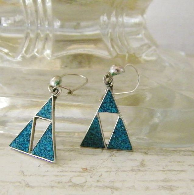 Vintage Taxco Silver & Turquoise  Pierced Earrings