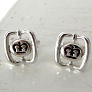 Black & Silvertone Crown Cufflinks