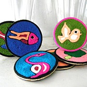 Mint! 6 Huichol Mexican Folk Art Yarn Coasters NIP