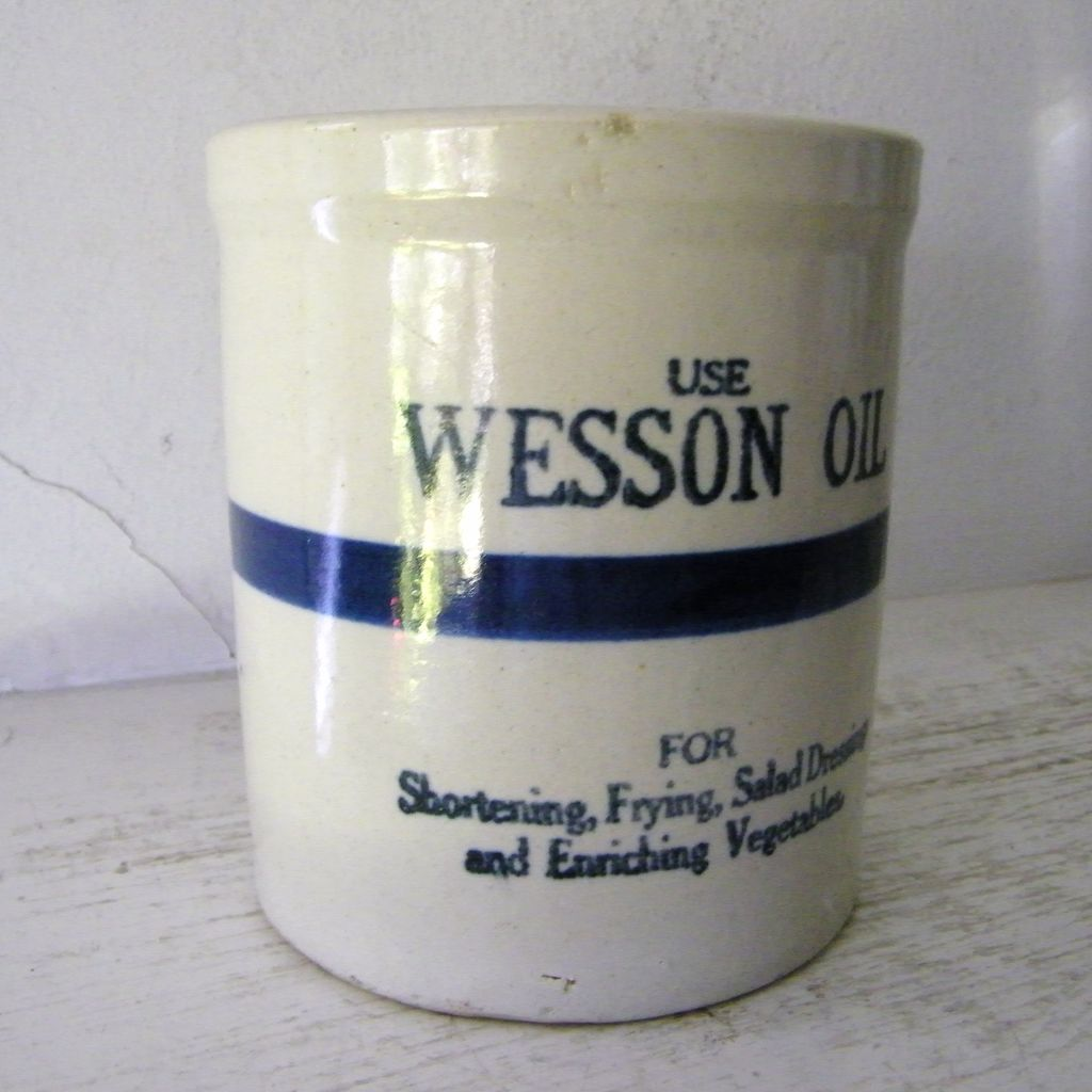 Wesson Oil Stoneware Beater Jar 1923