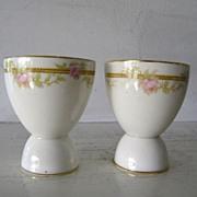 2 Porcelain Egg Cups Pink Rose motif
