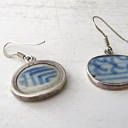 Sterling Silver &  porcelain pottery shard Earrings