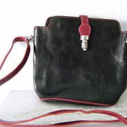 VIGANT Black  Red Italian Leather Shoulder Bag Purse