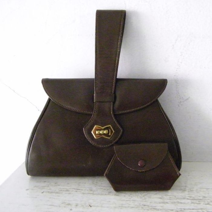 Vintage Mexcian Leather Handbag Swagger Handle