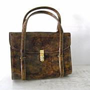 Vintage CARA Tortoise  Brown Patent Handbag