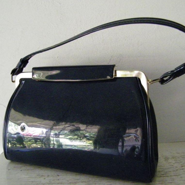 Vintage Navy Patent Handbag