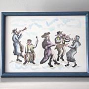 Large Signed Moshe Dadon Original Framed Water Color Painting