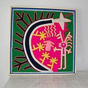"15 1/2"" Huichol Yarn Art Painting Folk Art Mexico"