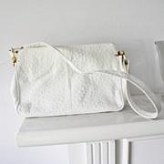 Palizzio Ostrich Embossed Leather Handbag Shoulder Bag Purse
