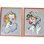Two 16  x 12 Framed and Signed Original Clown Paintings by Lang
