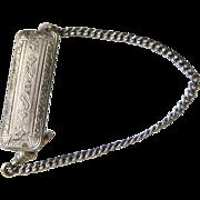 Vintage Etched Silver Belt Watch Chain