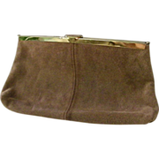 Etra Tan Suede Leather Clutch Shoulder Bag Purse Convert