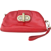 Nordstrom Red Leather Wristlet Clutch Purse