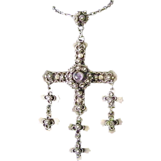 SALE Vintage Yalalag Cross Taxco 925 Silver Amythest necklace 24 inch chain