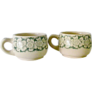 Two Wallace China green on tan restaurant ware Cups Mugs Dogwood flowers