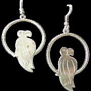 """Vintage Mexican Parrot Hoop Earrings 2"""""""