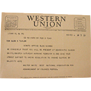 Western Union Telegram February 1949 Filibuster NAACP