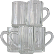 6 Miniature Ribbed Glass Beer Mugs Beer Steins
